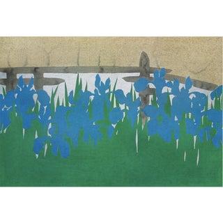 Framed 'Irises' Print in Natural Maple by K. Sekka For Sale