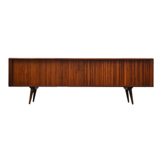 Walnut Tambour Door Credenza by Barzilay For Sale