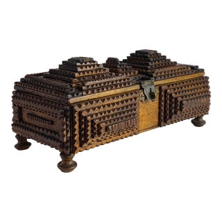 Late 1800s Folk Art Footed Tramp Box For Sale