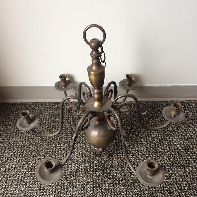 Antique Brass Candle Holder Chandelier For Sale In Atlanta - Image 6 of 7