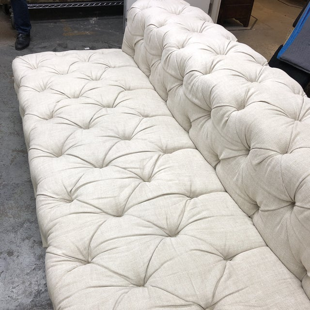 Restoration Hardware Soho Armless Sofa For Sale - Image 10 of 13