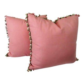 Dusty Rose Toss Pillows With Tassels - a Pair For Sale