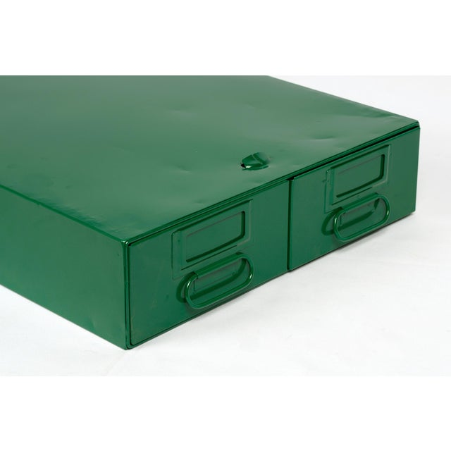 1940s 1940s Card Catalog File Drawers, Refinished in Forest Green For Sale - Image 5 of 7