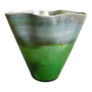 Wavy Grass Green and Oyster Murano Vase For Sale