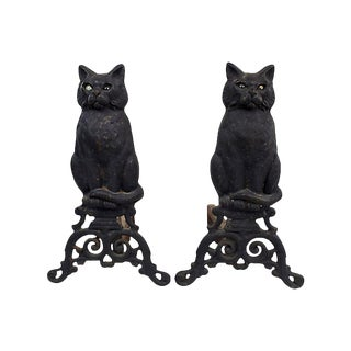 Antique Cat Andirons W/ Glass Eyes For Sale