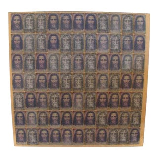 1990s Vintage Outsider Art of Mounted Holographic Jesus Cards Collage For Sale