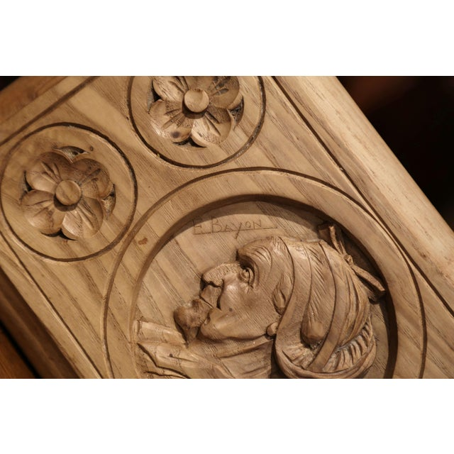 Early 20th Century French Carved Chestnut Box From Brittany Signed E. Bayon For Sale - Image 4 of 10