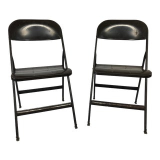 Vintage Industrial Metal Folding Chairs - a Pair For Sale