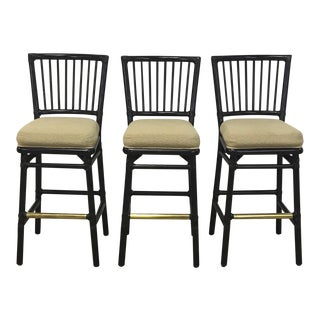 McGuire Black Rattan Cushioned Bar Stools - Set of 3 For Sale