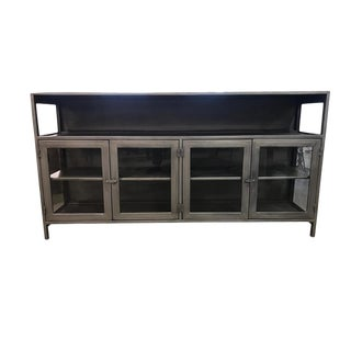 Industrial Carlo Media Console With Glass Doors For Sale