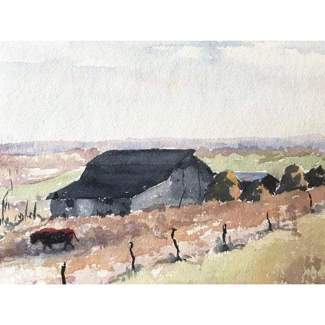 Vintage Watercolor Landscape W/ Farm For Sale - Image 4 of 6