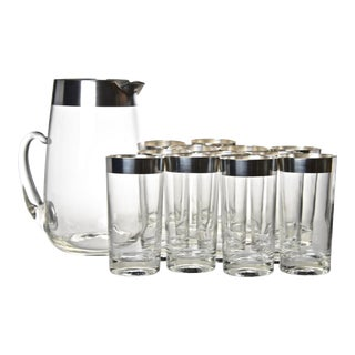 Mid 20th Century Dorothy Thope Attributed Sterling Overlay Cocktail Set - 13 Pieces For Sale