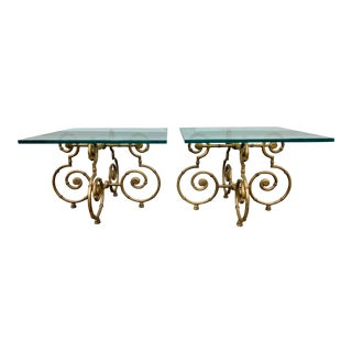 Vintage Hollywood Regency Metal and Glass Faux Bamboo Side Tables - a Pair For Sale