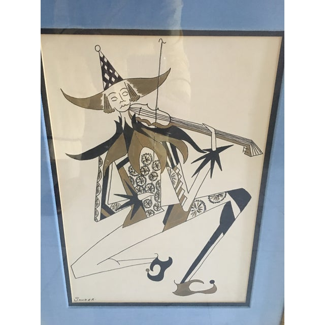 1960s Hollywood Regency Harlequin/Jesters Signed Drawings - a Pair For Sale - Image 5 of 7