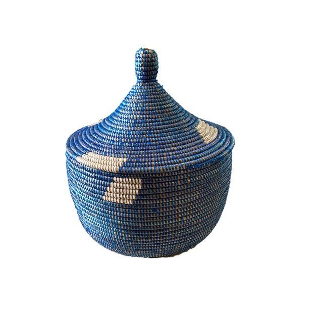 "Colorful Basket W/ Lid Senegal West Africa 15"" H For Sale - Image 4 of 6"