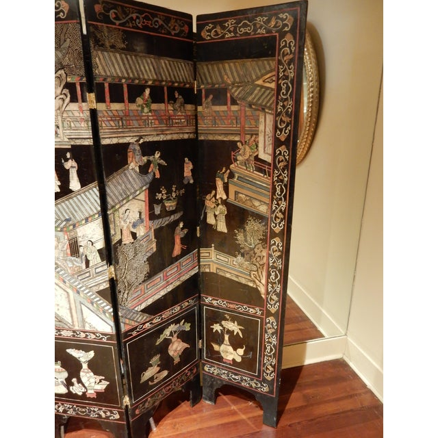 19th Century Coromandel Black 8 Panel Screen For Sale In New Orleans - Image 6 of 9