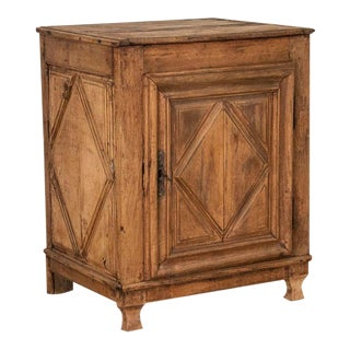 Antique French Oak Cabinet With Diamond Detail in Door and Sides For Sale