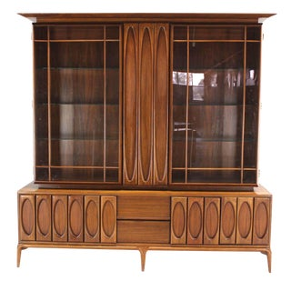 Large Heavily Carved Front Walnut Two Part Breakfront Bookcase Cabinet For Sale