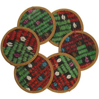 Rug & Relic Sipahi Kilim Coasters - Set of 6 For Sale