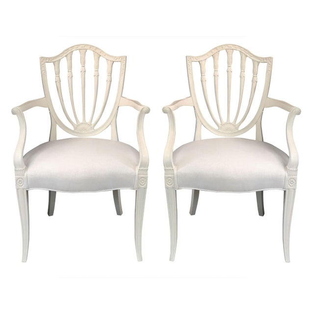 1930s Hepplewhite Shield-Back Chairs — a Pair For Sale - Image 10 of 10