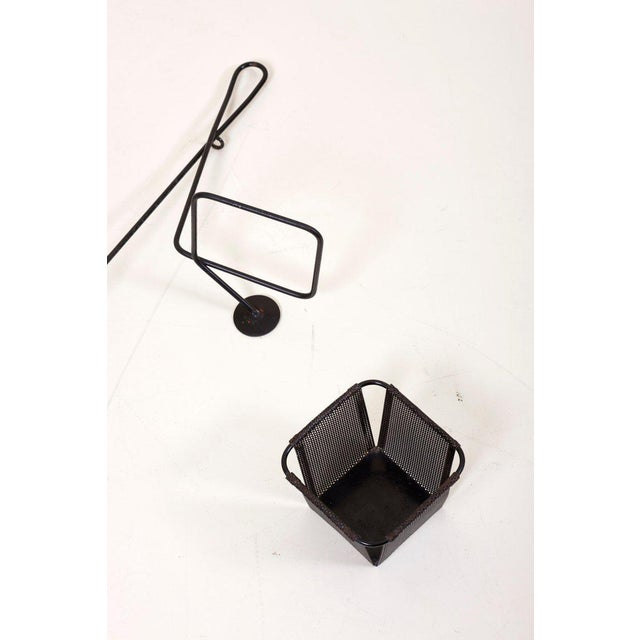 Mathieu Matégot Black and Grey Lacquered Metal Wall Planter Holder, Circa 1950 For Sale - Image 6 of 10