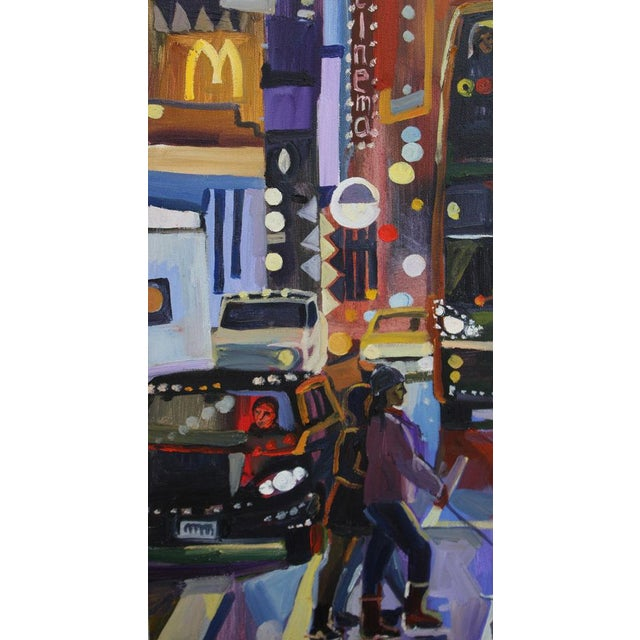 This painting was inspired by some of my pictures taken in NYC, featuring a city tour bus. Multiple geometric forms add a...