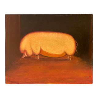 """1990s """"Prize Pig"""" Oil Painting on Masonite For Sale"""