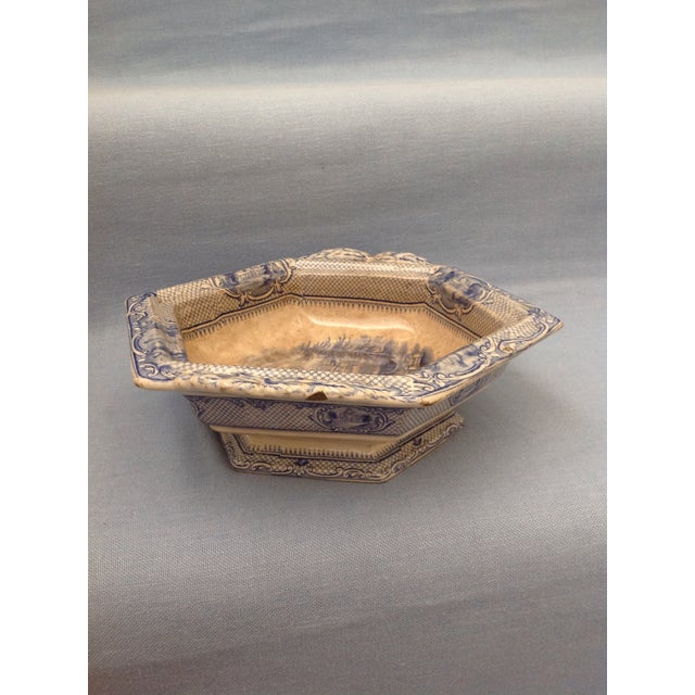 Blue Antique Blue and White Transferware Dish With Lid For Sale - Image 8 of 13