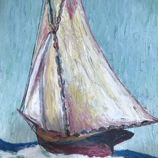 Howard Fox Vintage Sailboat Painting 1925 For Sale In Houston - Image 6 of 7