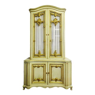 Vintage Louis XV Style Provincial Style Gilt Paint Decorated Cabinet For Sale