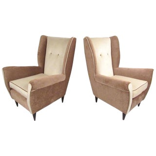 Modern Italian High Back Lounge Chairs - A Pair For Sale