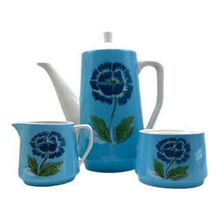 1950s Mid-Century Blue Floral Coffee Set - 3 Pieces For Sale