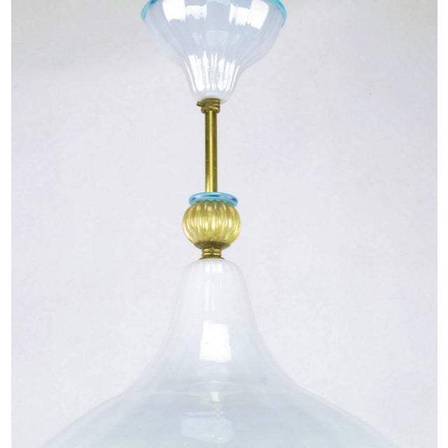 Brass Italian Murano Blue and White Cased Glass Hooded Pendant Chandelier For Sale - Image 7 of 7
