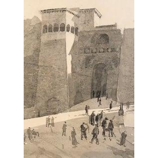 Orientalist Scene en Grasaille Watercolor Painting, 1920s For Sale
