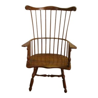 1980s Vintage Stickley Solid Cherry Philadelphia Fan Back Windsor Arm Chair For Sale