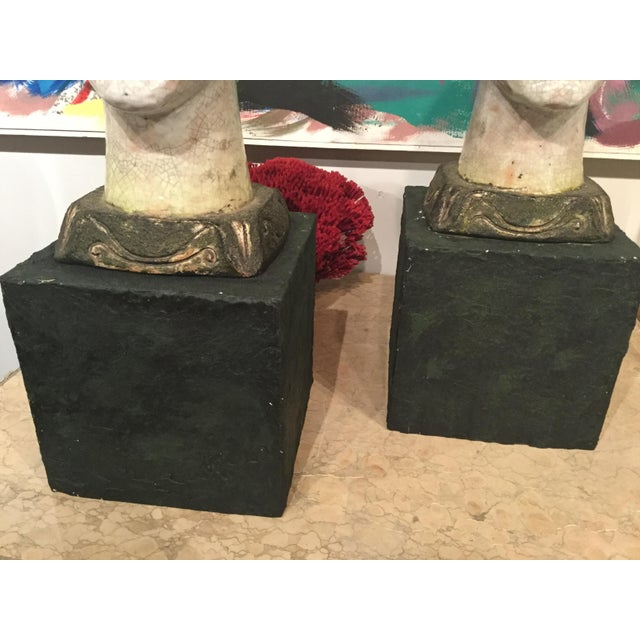 Pair of Unusual Mid Century Glazed Pottery Busts For Sale In Tampa - Image 6 of 11