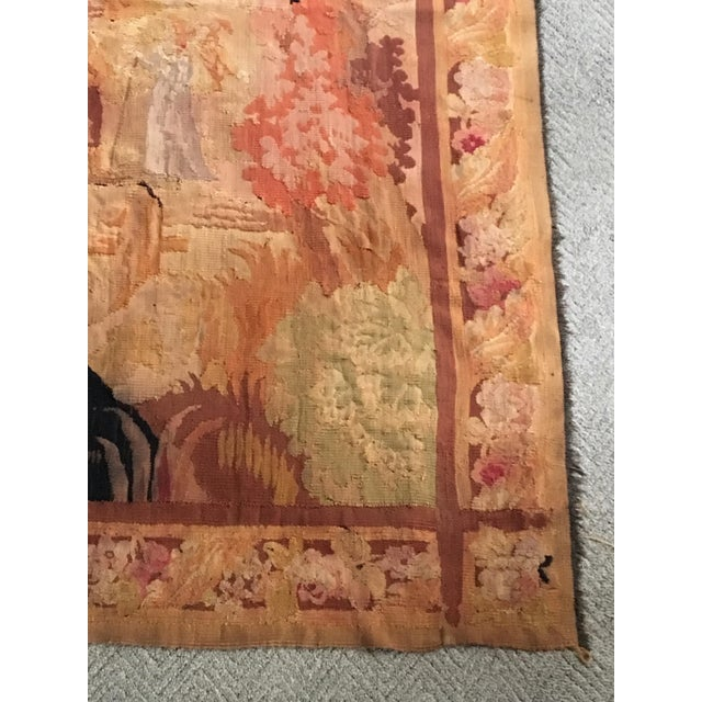 Antique Pastoral Scene Wool Tapestry For Sale In Milwaukee - Image 6 of 10