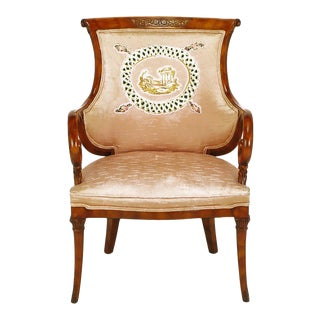1940s Italian Regency Armchair with Quilted Silk Upholstery For Sale