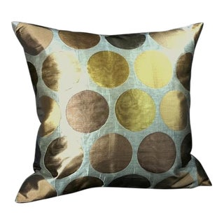Gold and Silver Designer Pillow For Sale