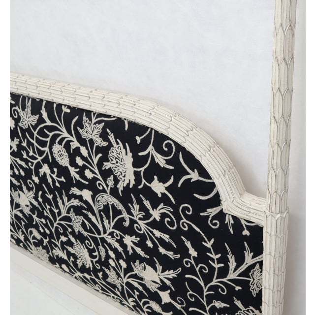 Upholstered Decorative Black and White Fabric King Size Poster Headboard For Sale - Image 9 of 12