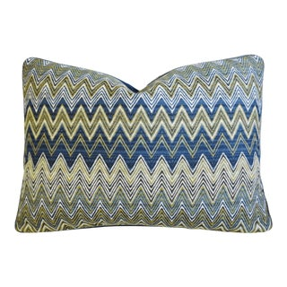 """Custom Pindler & Pindler Kandira Zigzag Feather/Down Pillow 22"""" X 16"""" For Sale"""