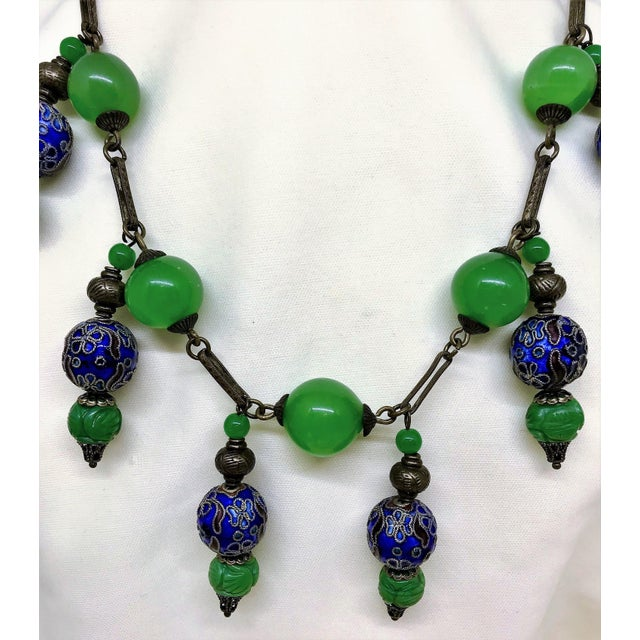 Asian Vintage Green Glass Bead, Cloisonne and Brass Chain Necklace For Sale - Image 3 of 5