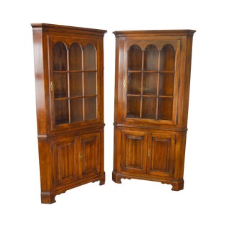 Statton Solid Cherry Pair of Oxford Chippendale Style Corner Cabinets