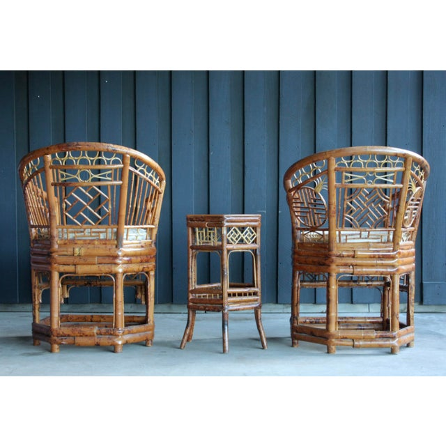 1960s Pair of Brighton Pavillion Bamboo Chairs With Table, Set of 3 For Sale - Image 5 of 13