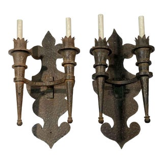 Arts & Crafts French Wrought Iron Sconces - a Pair For Sale