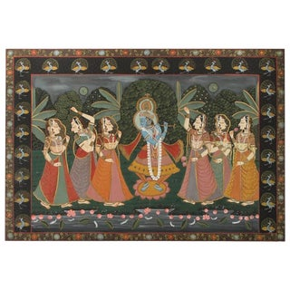 Large Pichhavai Krishna With Female Gopis Dancing Painting For Sale