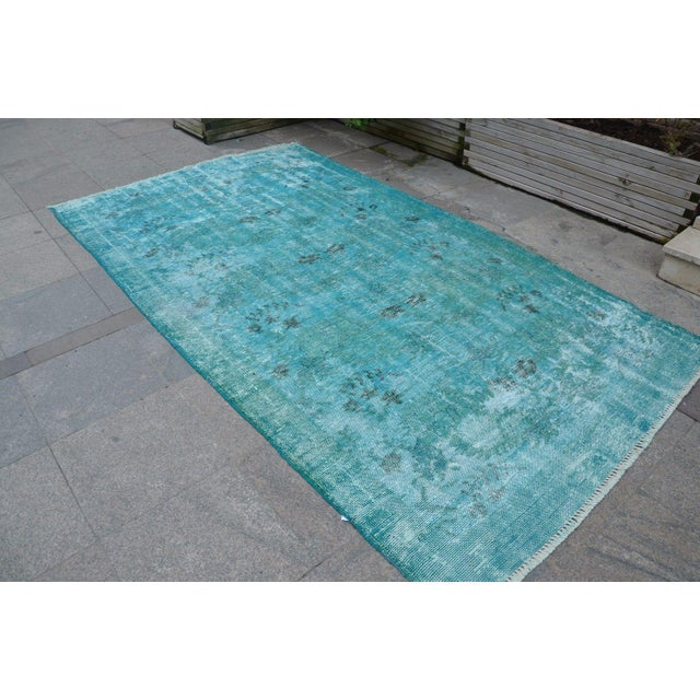 Turkish Overdyed Turquoise Rug - 5′2″ × 9′2″ For Sale - Image 3 of 6