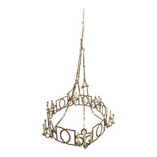 22k Gold Finish Hand Forged Iron Chandelier For Sale