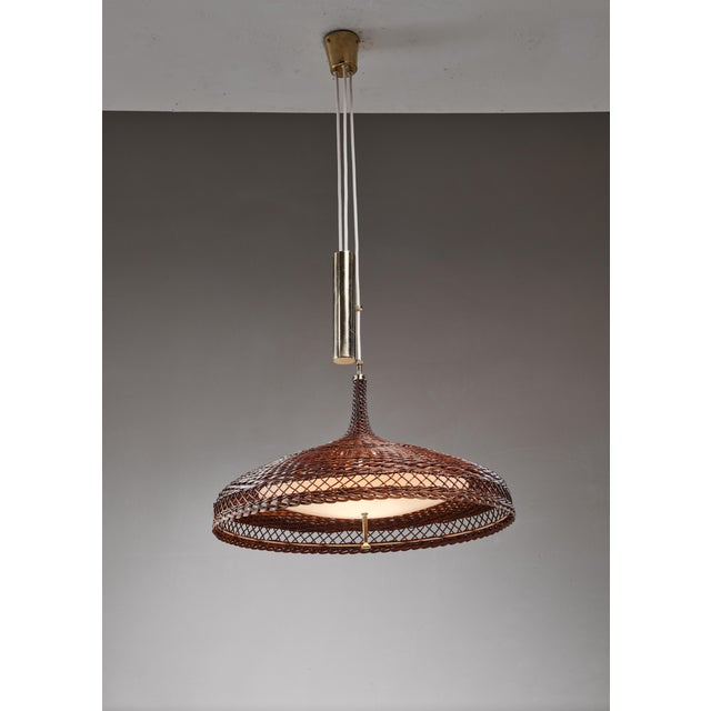 1960s Woven rattan pendant lamp with brass counterweight, 1960s For Sale - Image 5 of 5