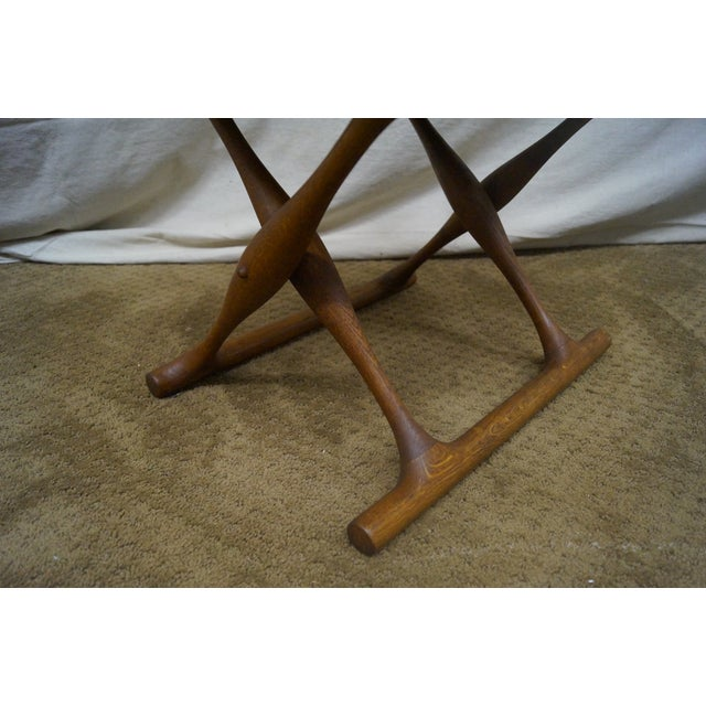 Poul Hundevad 1960s Teak & Leather X Base Stool - Image 5 of 10